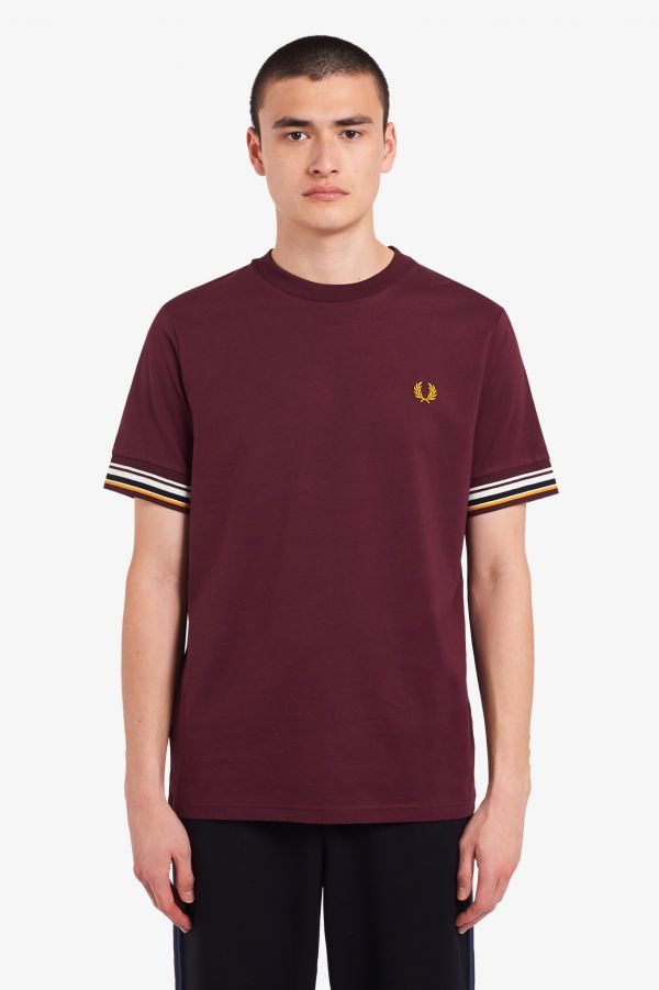 T-Shirt Con Bordo Manica A Righe