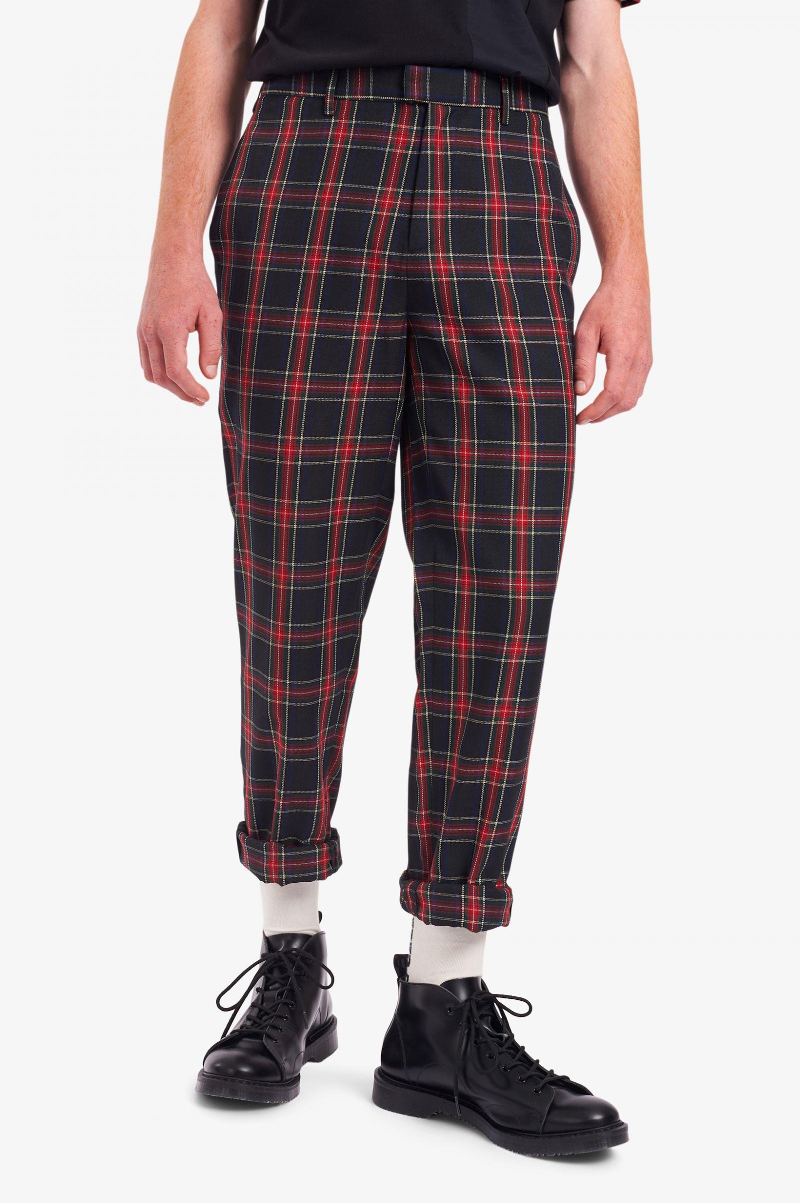 Pantalones A Cuadros Escoceses De Tartan Negro Pantalones Para Hombre Chinos Joggers Pantalones Casual Fred Perry Es