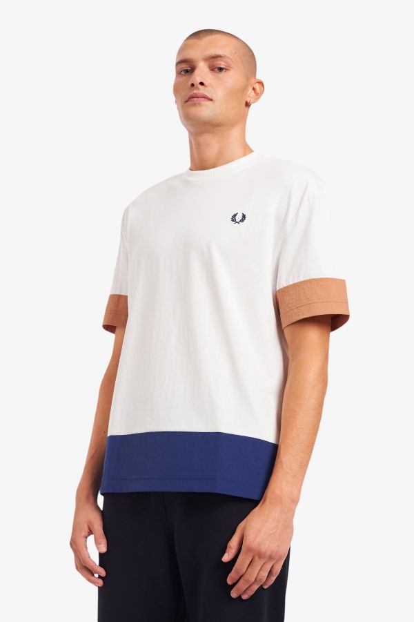 Woven Colour Block T-Shirt
