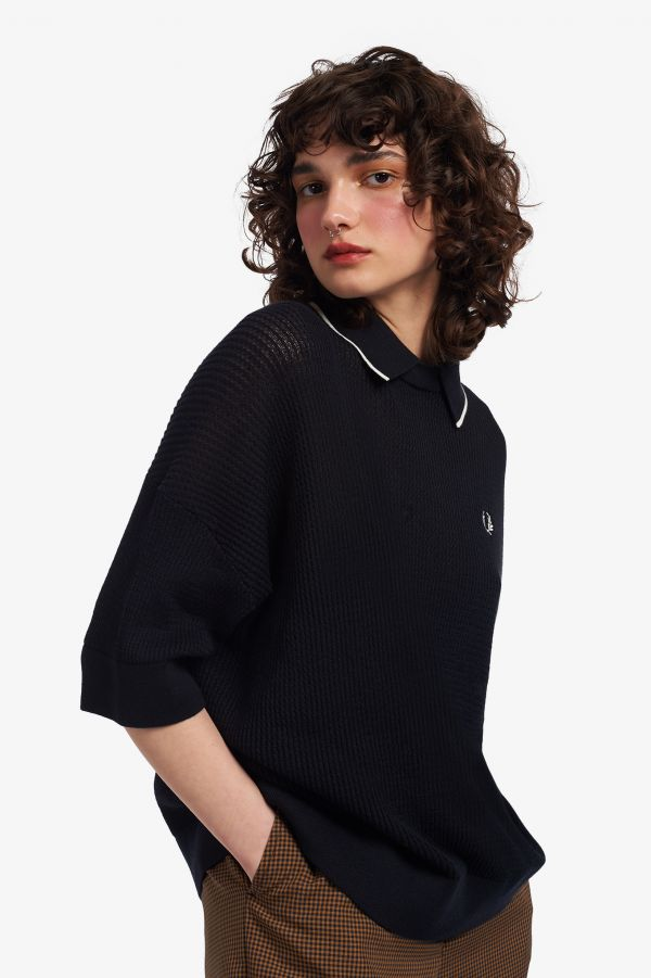 Tipped Collar Knitted Shirt