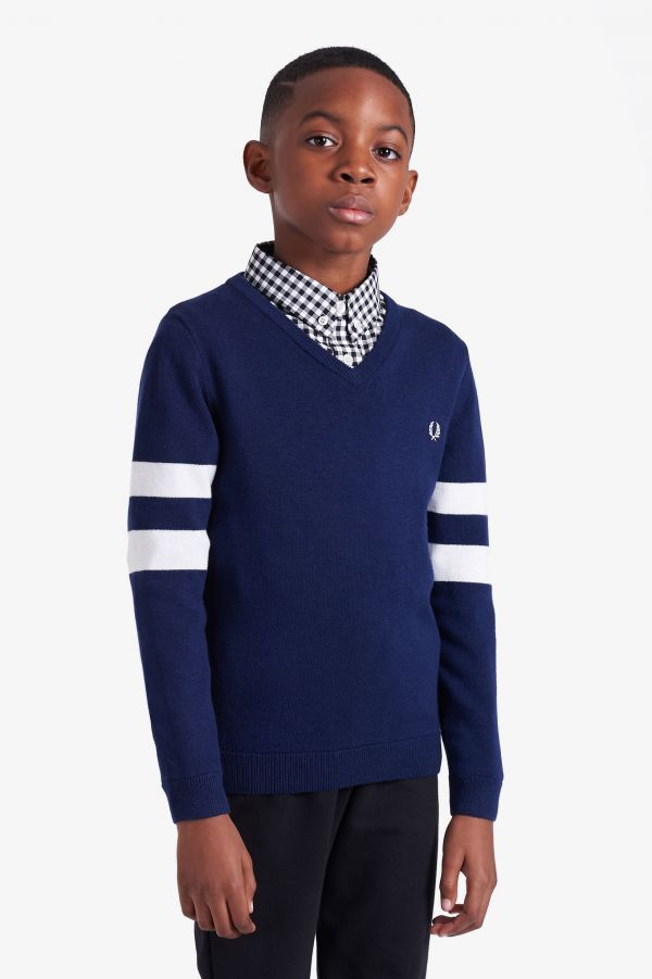 Kids Tipped Sleeve V Neck Jumper