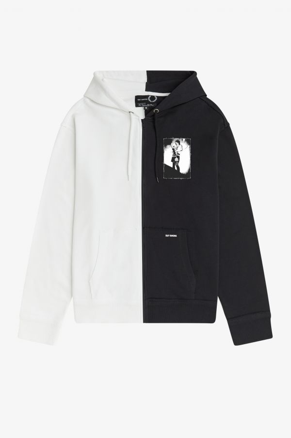 Printed Patch Zip Through Hooded Sweatshirt