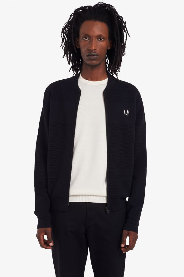 Textured Knitted Tennis Bomber