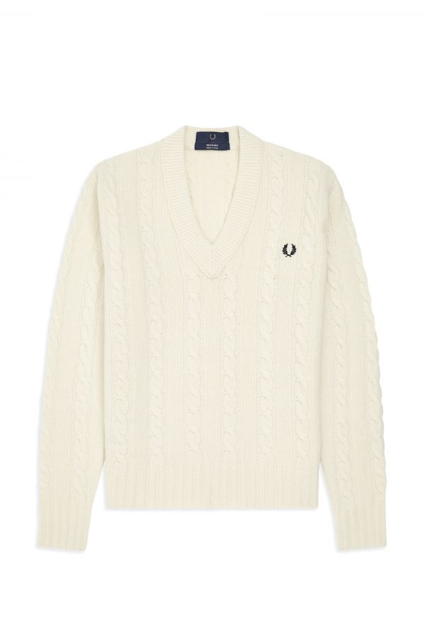 Reissues V-Neck Cable Knit Jumper