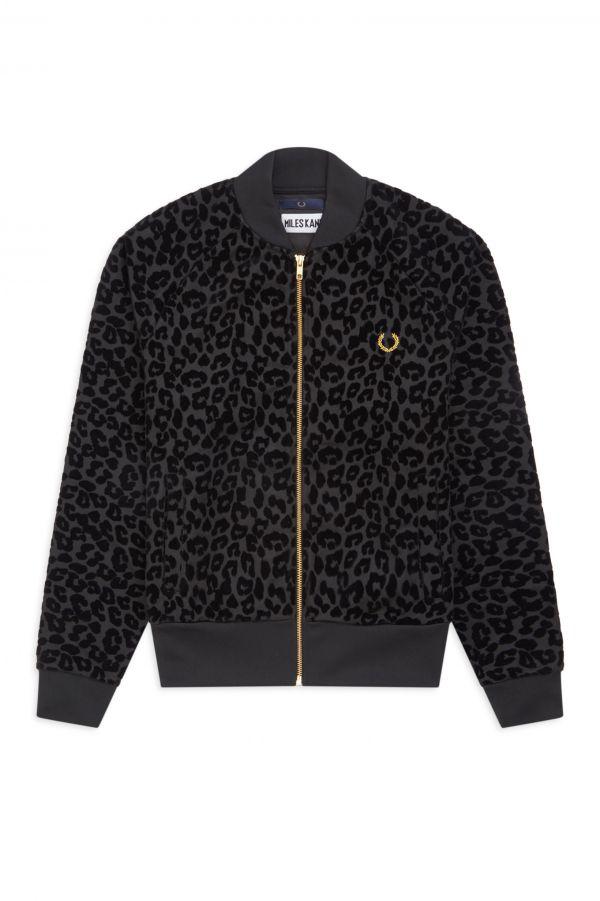 Miles Kane Trainingsjacke mit geflocktem Leopardenmuster