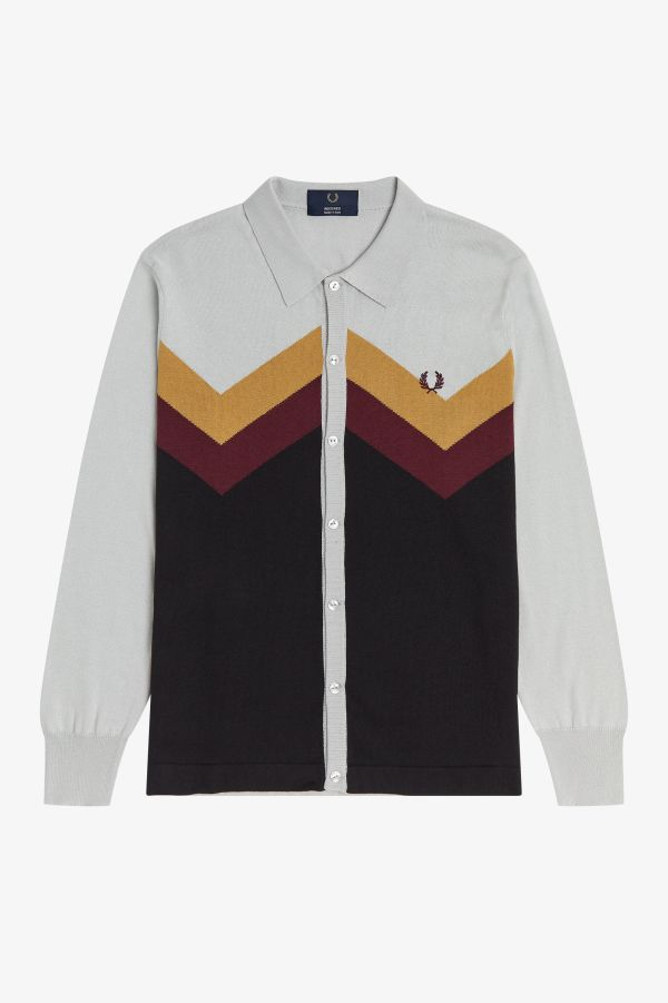 Chevron Button Through Knitted Shirt
