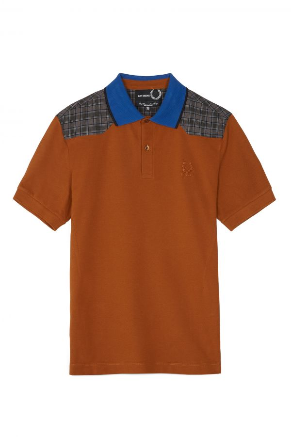 Raf Simons Check Shoulder Piqué Polo Shirt