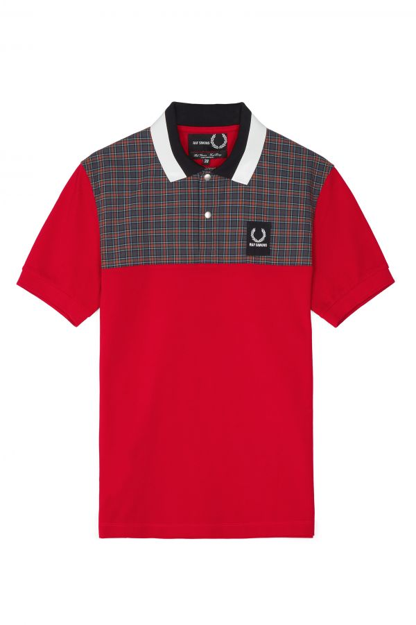 Raf Simons Check Yoke Piqué Polo Shirt