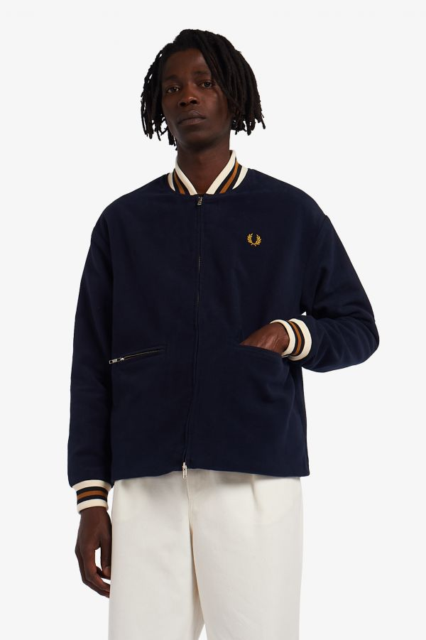 Towelling Lined Bomber Jacket