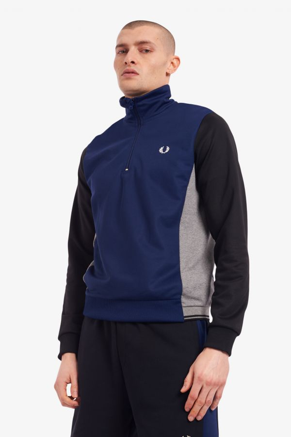 Tricot Panel Half Zip Sweatshirt