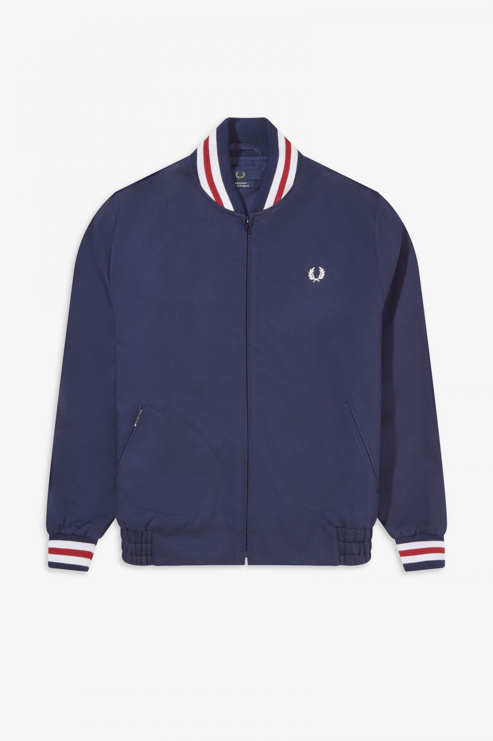 Made in UK Mens Bomber Jacket in Dark Blue Cotton