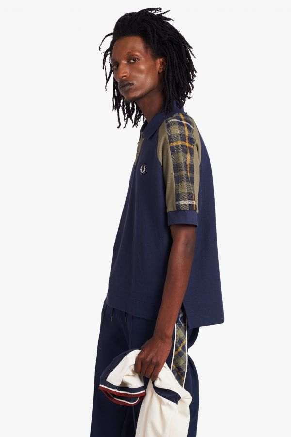Nicholas Daley Tartan Panel Polo Shirt