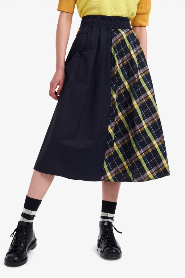 Check Panel Pleated Skirt