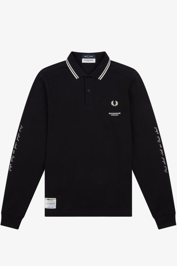 Printed Long Sleeve Polo Shirt