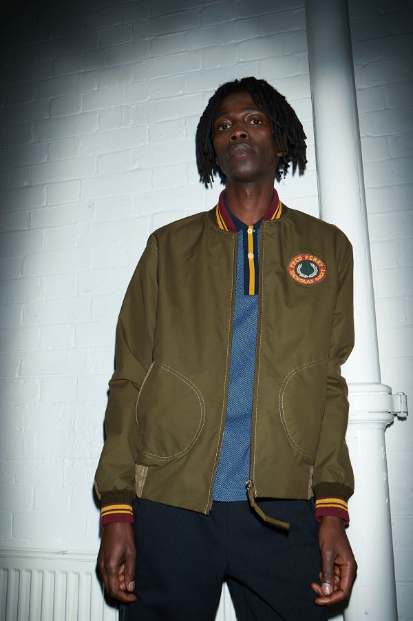 Waxed Patch Detail Bomber Jacket
