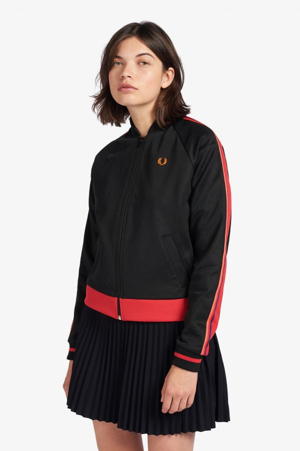 Track jacket con maniche a righe