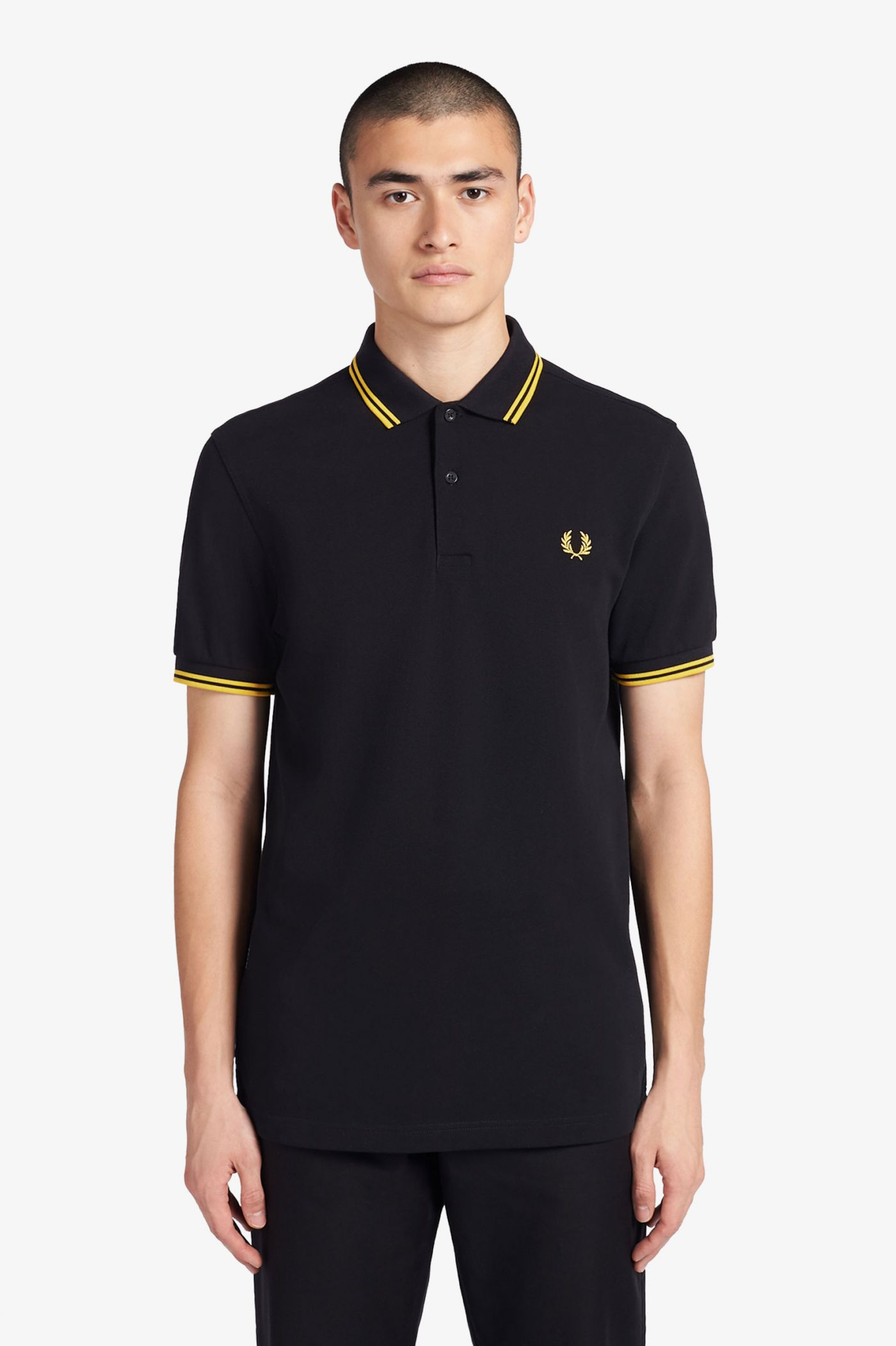 M3600 - Black / Yellow / Yellow | The Fred Perry Shirt | Men's ...