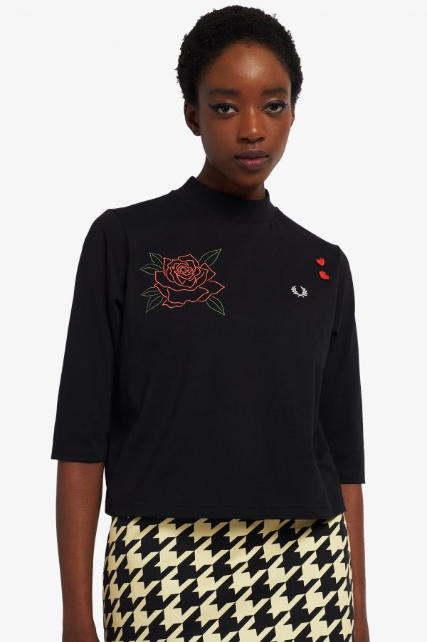 Embroidered High Neck T-Shirt