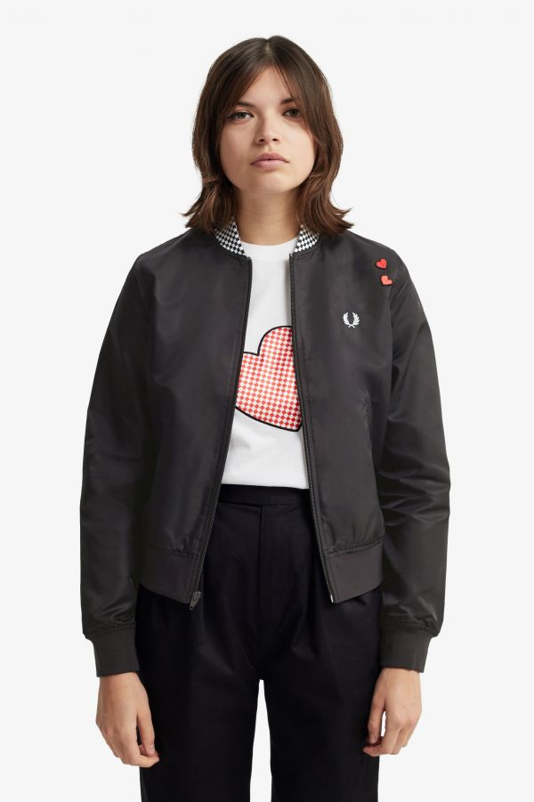Amy Winehouse Heart Detail Bomber Jacket