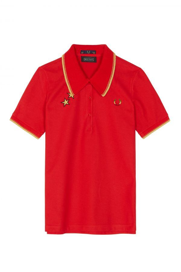 Bella Freud Embroidered Piqué Polo Shirt
