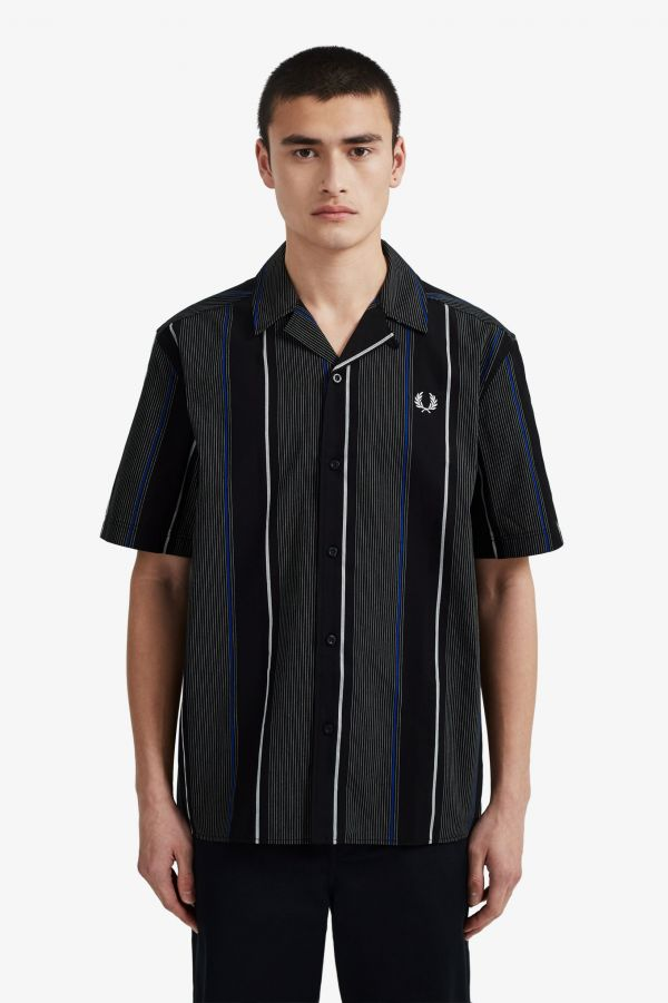 Vertical Stripe Revere Collar Shirt