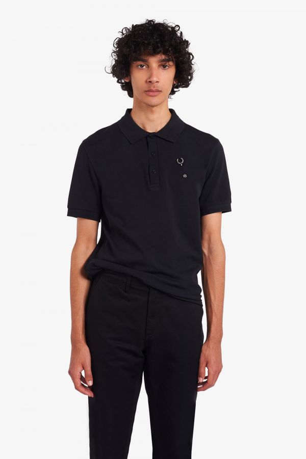 Raf Simons Laurel Wreath Pin Detail Polo Shirt