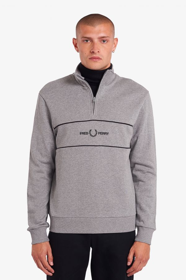 Embroidered Panel Half Zip Sweatshirt