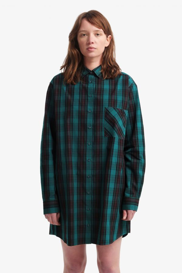 Overdyed Tartan Shirt Dress