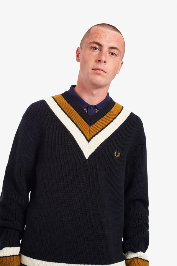 Stripe Detail V-Neck Jumper