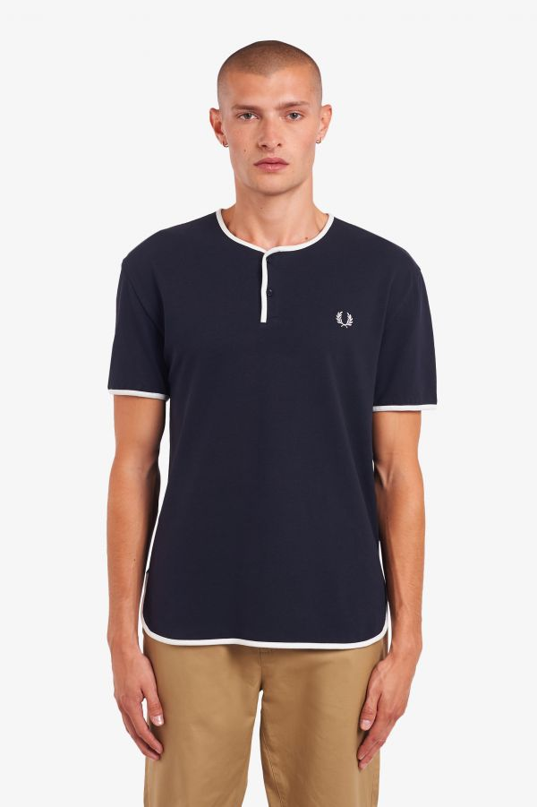 T-Shirt Henley In Piqué