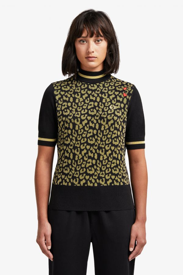 Amy Winehouse Leopard Turtle Neck Jumper