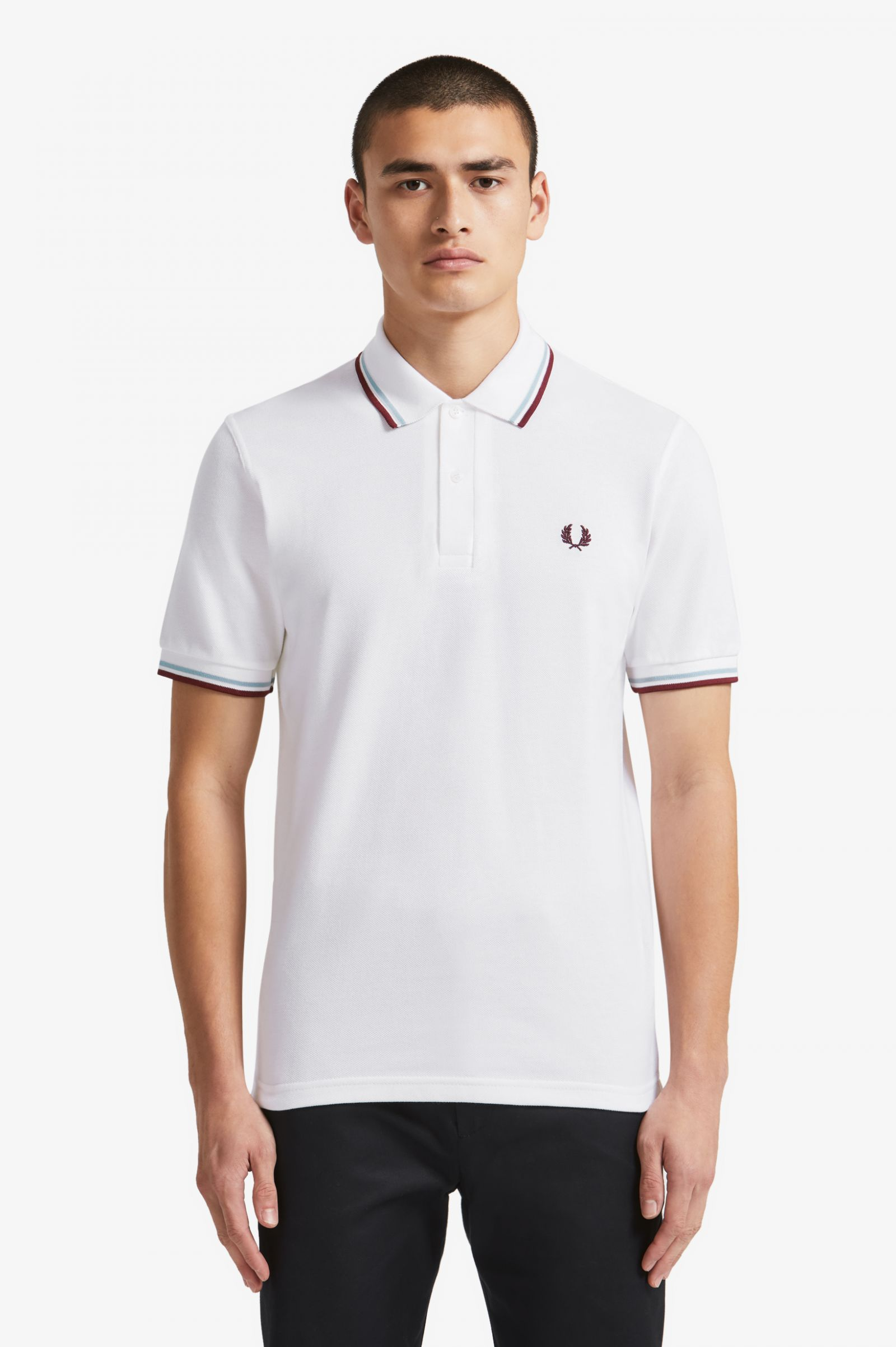 M12 - Blanc / Ice / Bordeaux | The Fred Perry