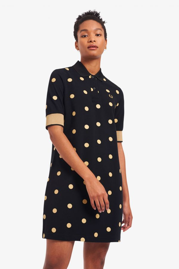 Spot Print Piqué Dress