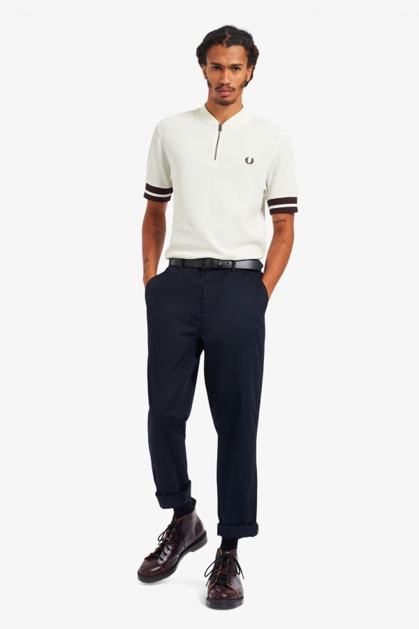 Tipped Cuff Zip Neck Polo Shirt