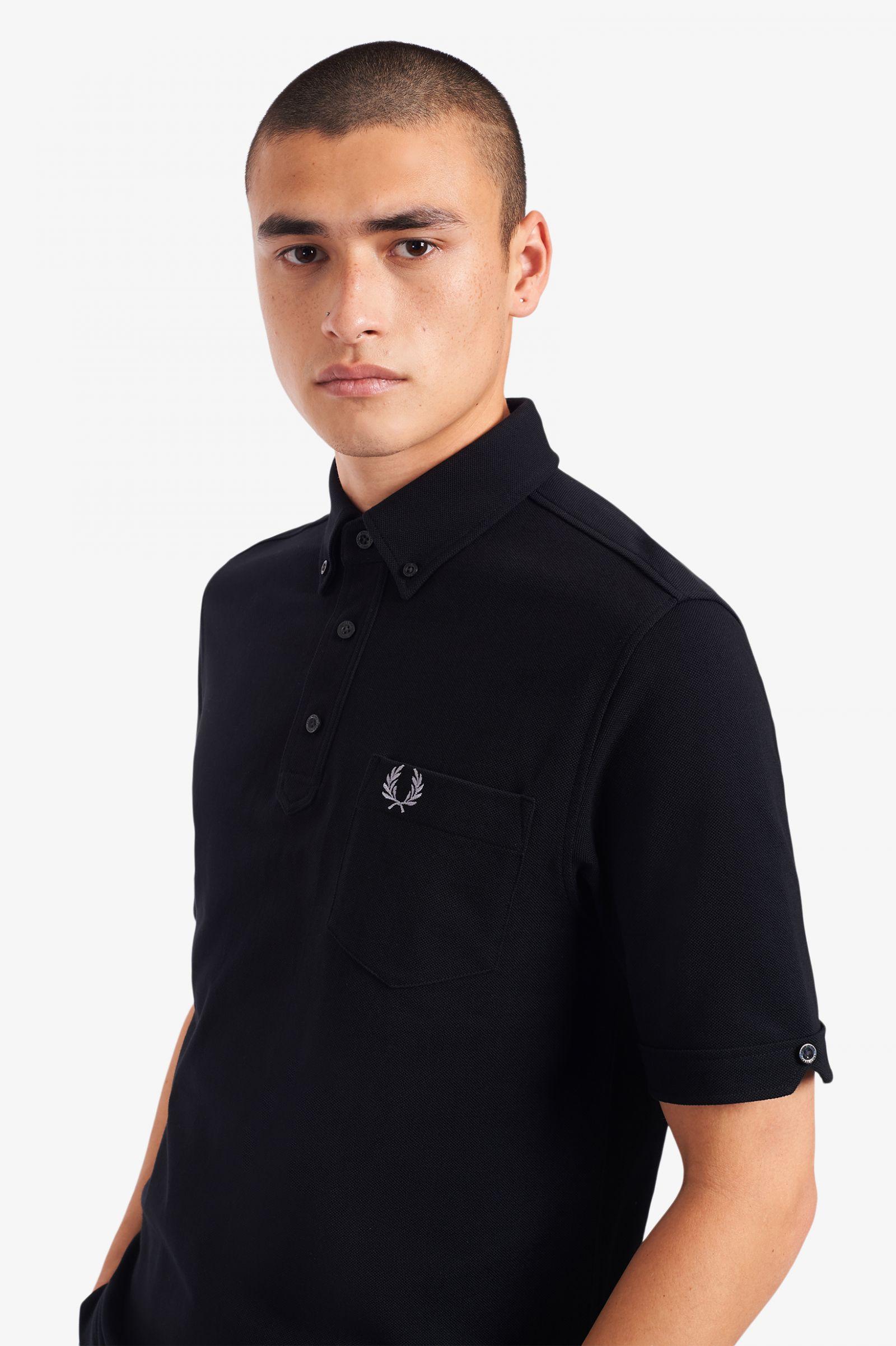 Button Down Collar Polo Shirt