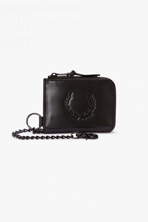 Leather Laurel Wreath Zip Around Wallet