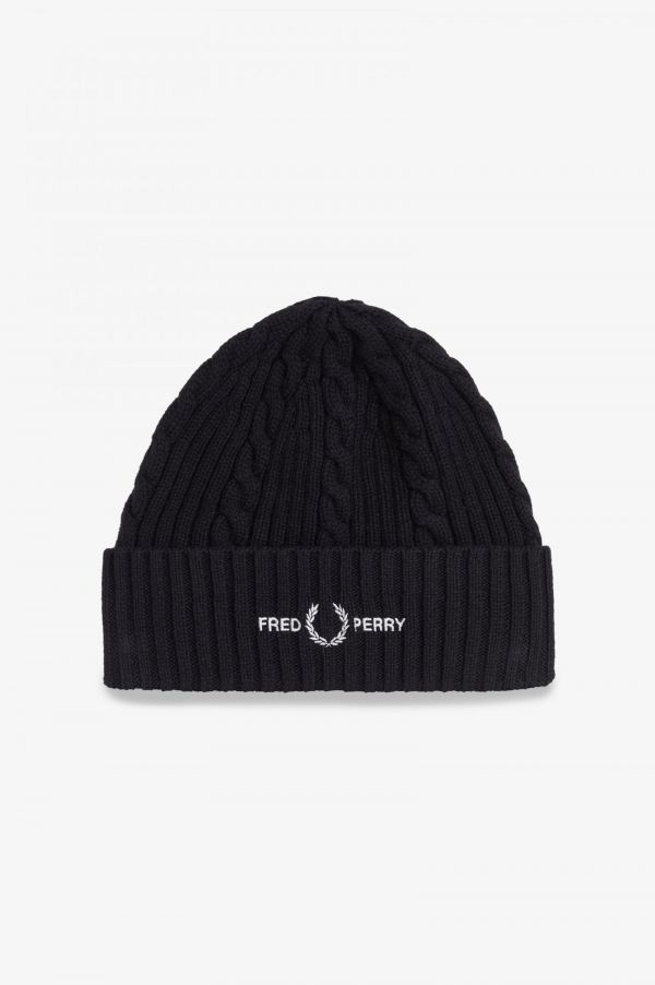 Cable Knit Branded Beanie