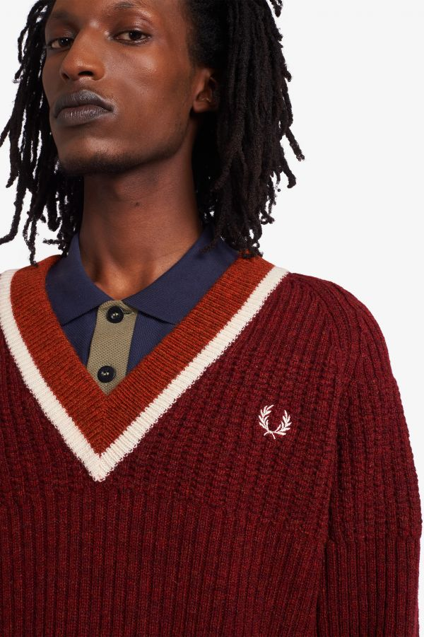 Nicholas Daley Texture Mix V-Neck Jumper
