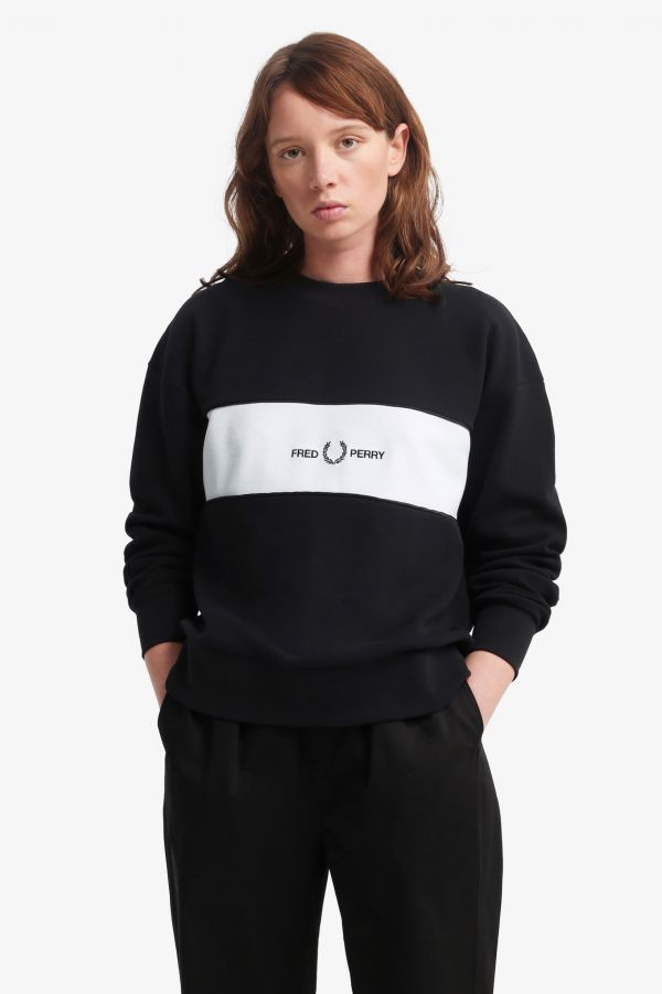 Satin Trim Embroidered Sweatshirt