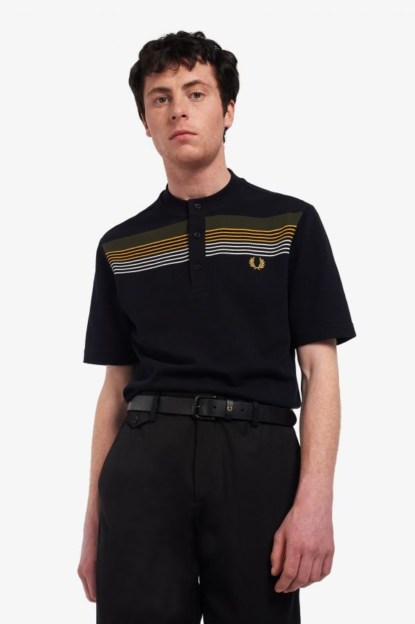 Polo Henley a righe ingegnerizzata