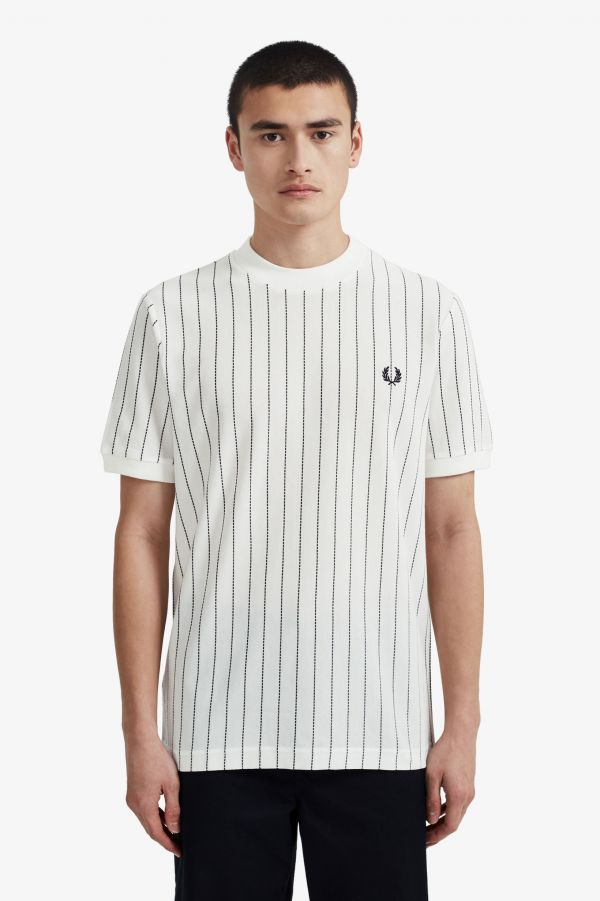Vertical Stripe Piqué T-Shirt