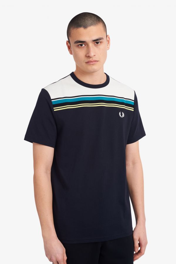 Striped Chest Panel T-Shirt
