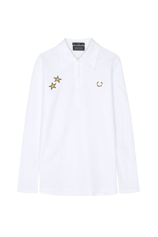 Bella Freud Long Sleeve Piqué Polo Shirt