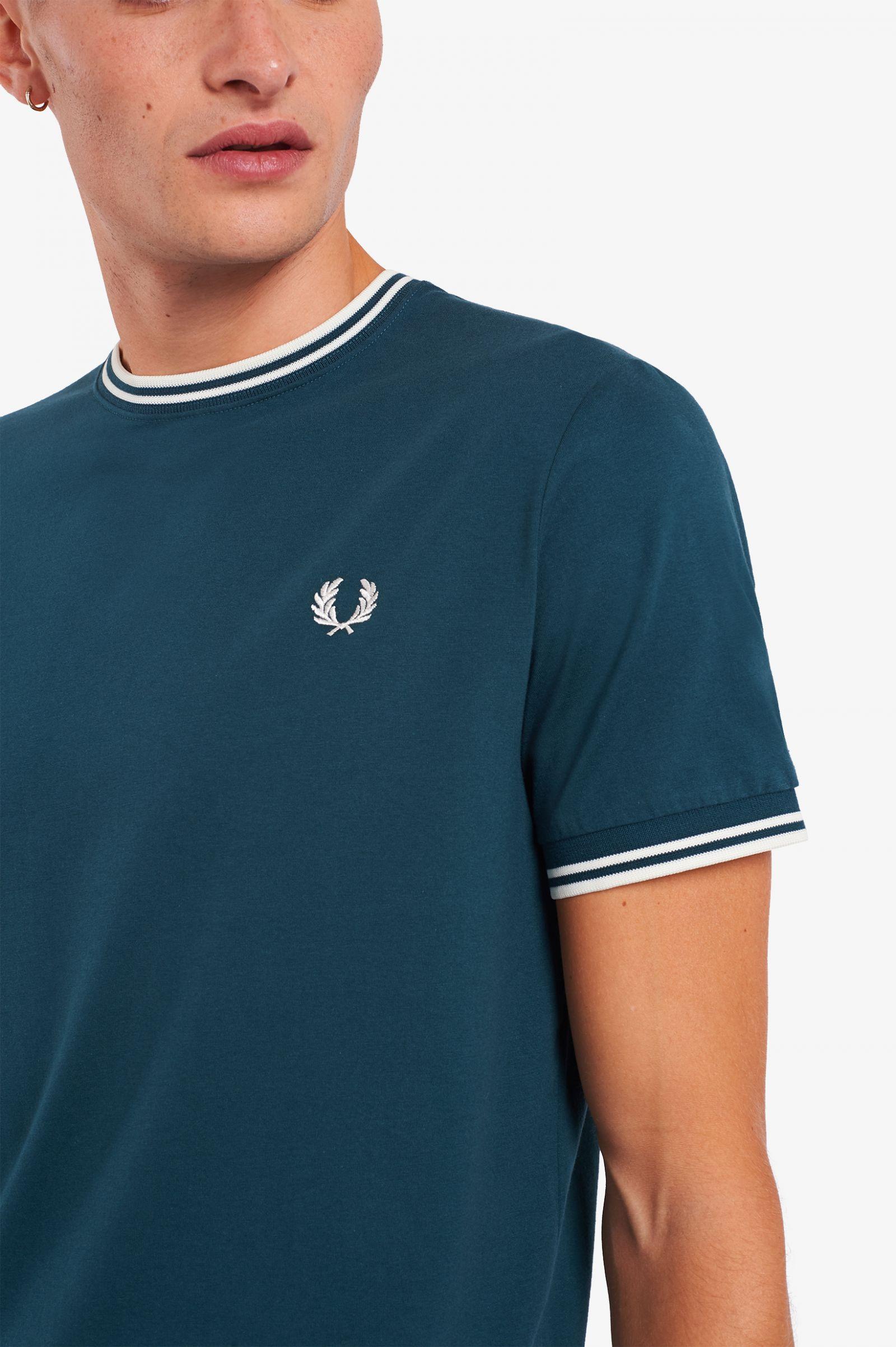Camiseta con ribete con dos franjas Azul petróleo
