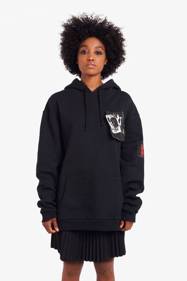 Raf Simons Printed Patch Hooded Sweatshirt