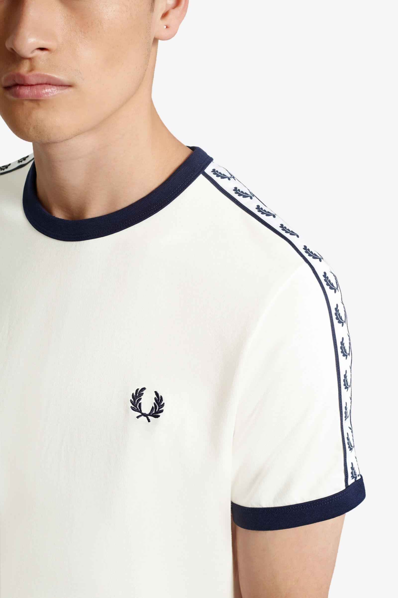 Camiseta Ringer Con Cinta Blanco Nieve   Camisas Para
