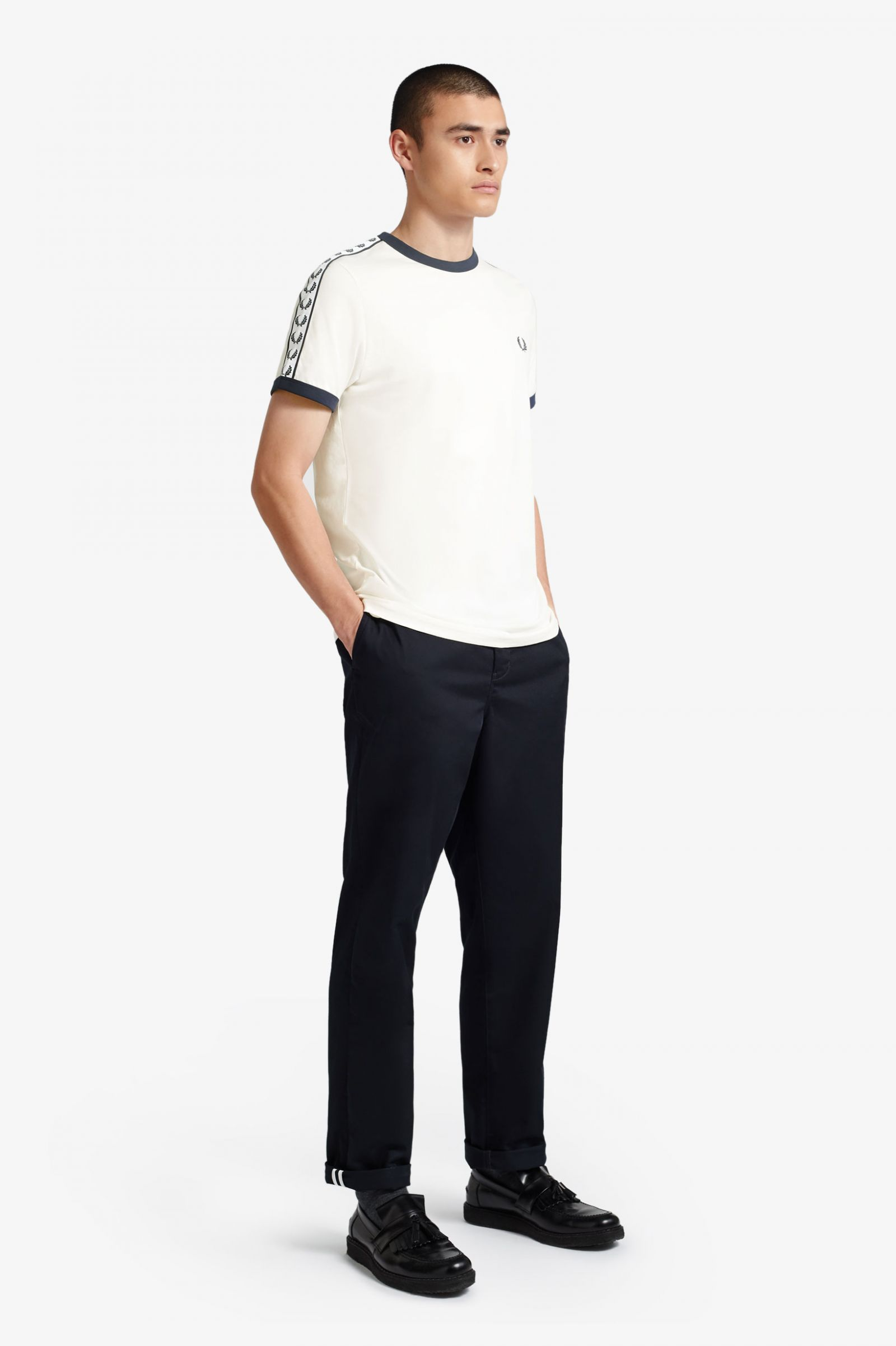 Camiseta Ringer Con Cinta Blanco Nieve | Camisas Para