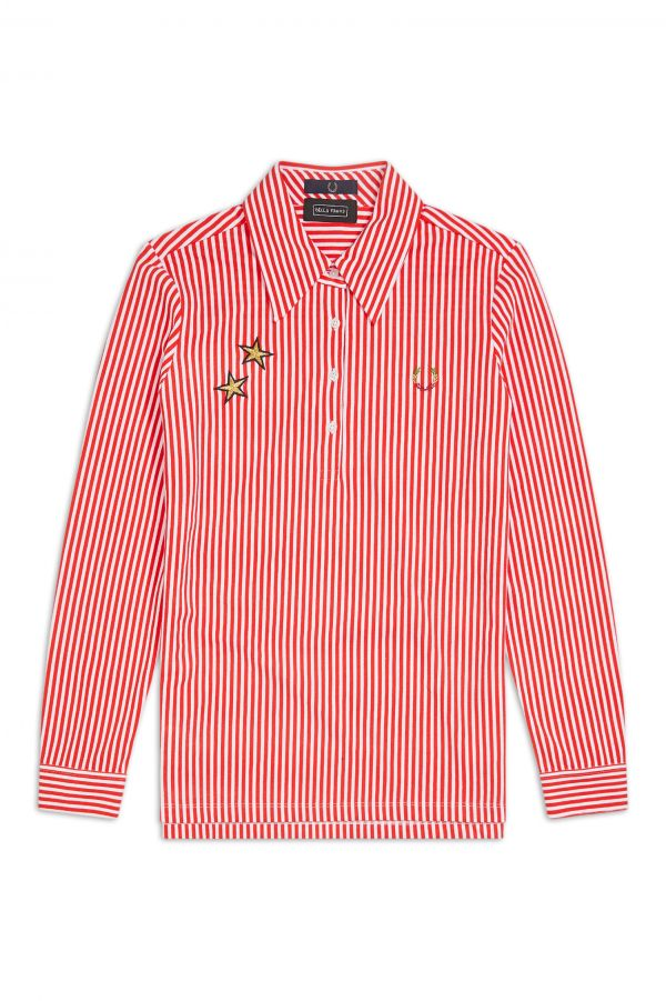 Bella Freud Striped Long Sleeve Polo Shirt
