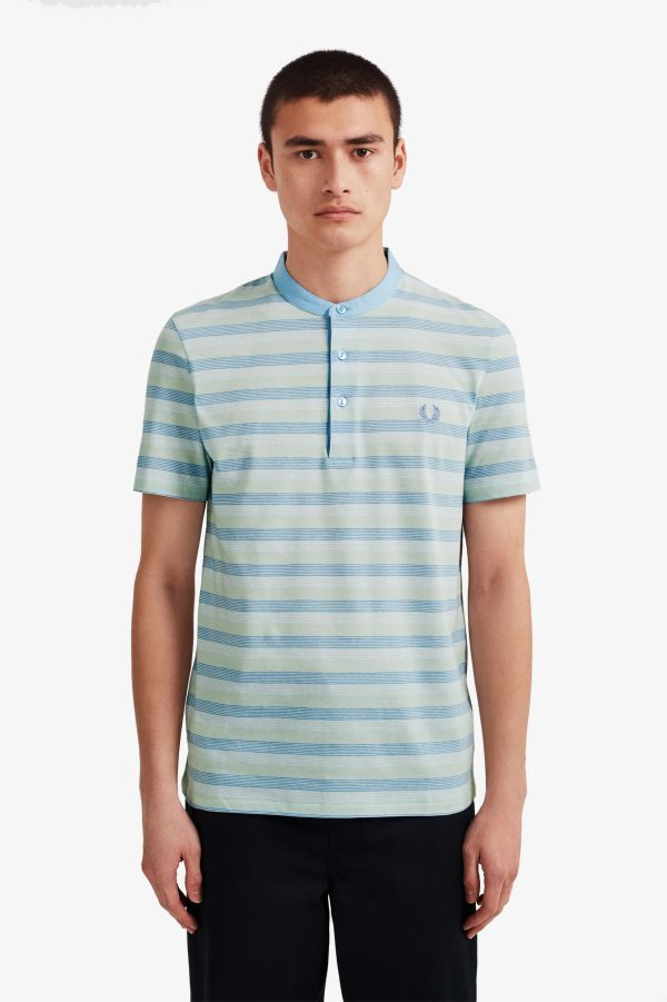 Reissues Collarless Striped Polo Shirt