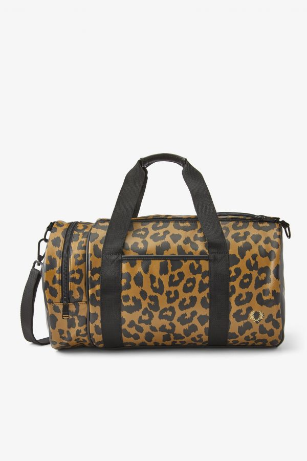 Leopard Print Barrel Bag